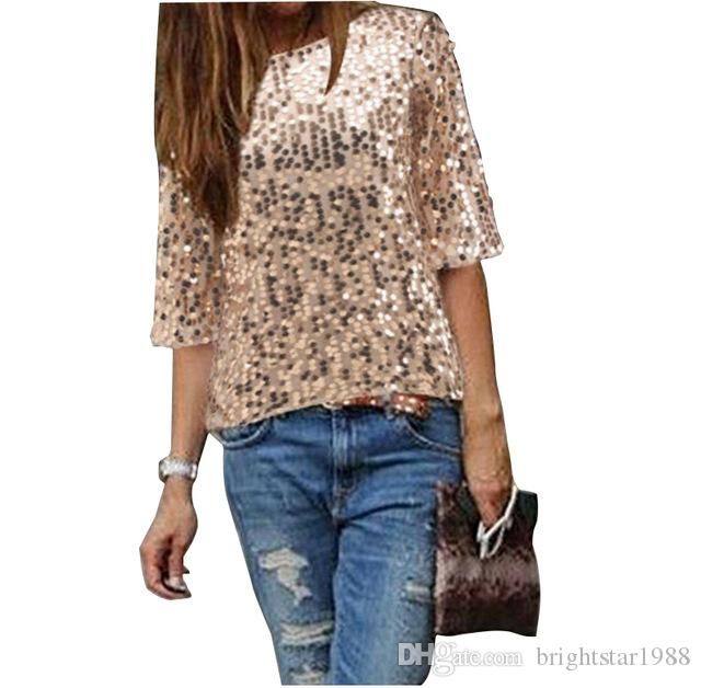 New 2018 Fashion Women Sexy Loose Off Shoulder Sequin Glitter Blouses  Summer Casual Shirts Vintage Streetwear Party Tops Really Funny T Shirts  Funny Vintage ... b07ed12d2be4