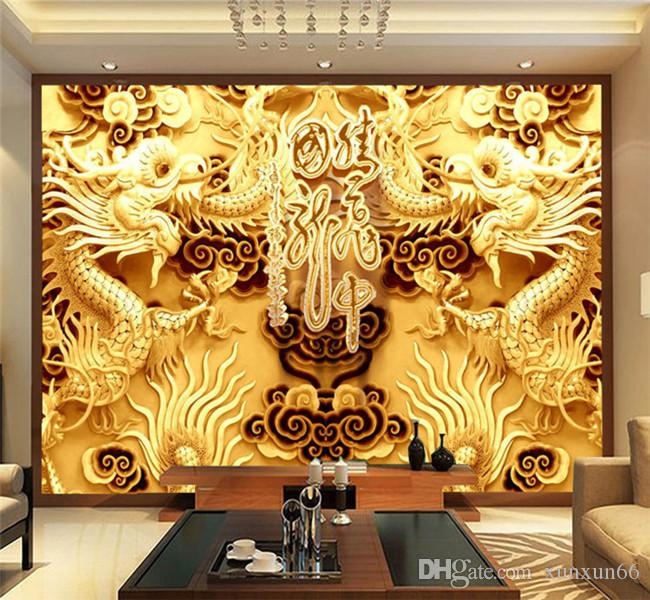 3D Golden Dragons Photo Wallpaper Woodcut Wall mural Chinese style wallpaper Art Room decor Kids Sofa background wall Restaurant Decoration