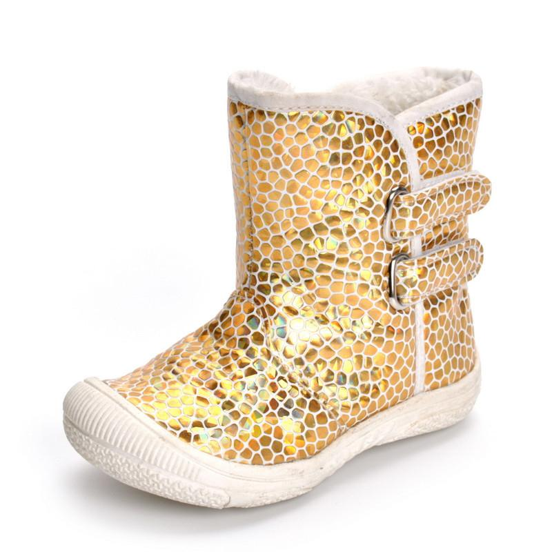 dcb6c5782400 Cukbub 1 3 Years Baby Girls Winter Boots Gold Toddler Kids Anti Slip Rubber  Sole Booties Warm Children S Hook Loop Walking Shoes Girls Boots Online  Toddler ...