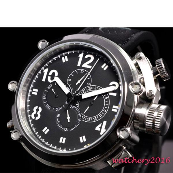86ebecdffa1 50mm Black Dial Stainless Steel Case Big Face Day Date Indicator Leather  Strap Multifunction Automatic Mens Wristwatch Best Watches In The World  Best Wrist ...