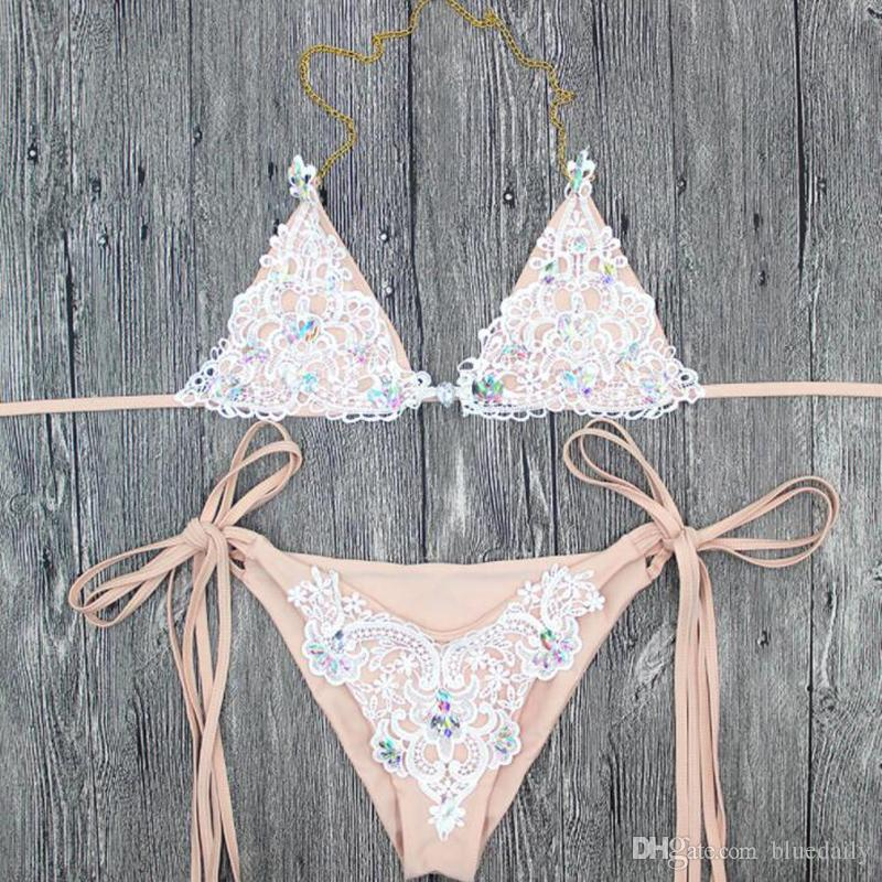Sexy Crochet Jewel string tie side halter Bikini two pieces Swimsuit female Swimwear women bathing suit Bather