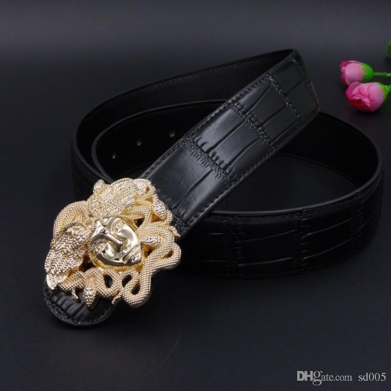 Cinturones de cuero genuino de calidad superior Metal Slub Snakes Head Smooth Hebilla correas Durable Hombres Mujeres Cinturón de cintura 21hh B
