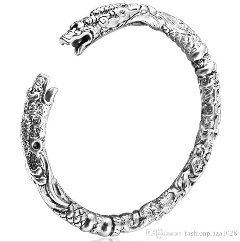925 Silver New 10 piece/lot Product Charm Handmade Dragon Open Adjustable Bangles Antique 925 Silver Bracelets Bangles Unisex