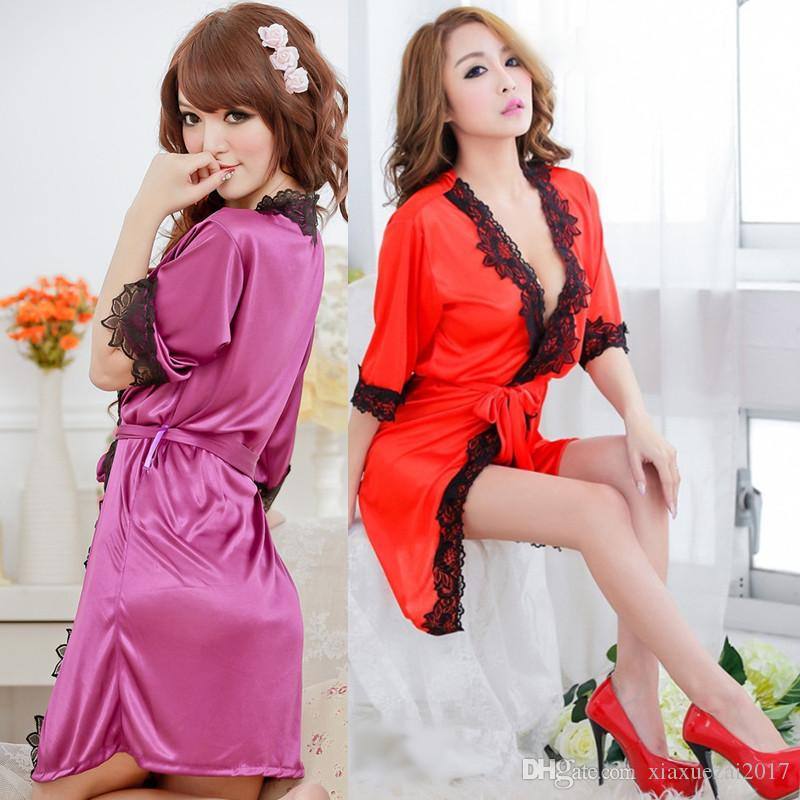 2019 Sexy Robes Sheer Body Party Dresses Women Sleepwear Nightwear Satin  Female Bathrobes Lounge Robe Casual Loose Home Clothing From Xiaxuezai2017 32f79d0e3