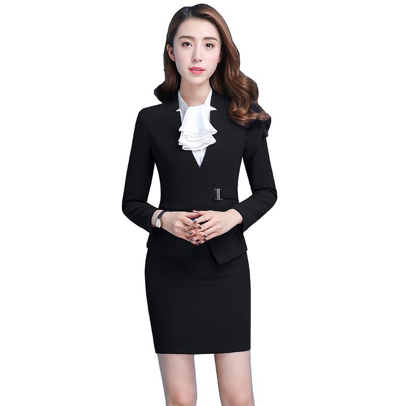 bc17d8017ec5 Fmasuth Spring Black Skirt Suit for Ladies Long Sleeve Blazer Jacket ...