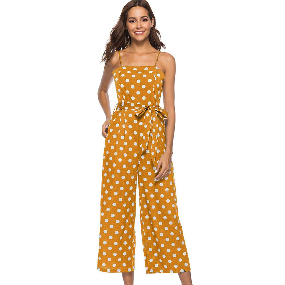 Jumpsuits Women Wide Leg Jumpsuits Rompers Short Sleeve V-neck Long Playsuit Sashes Pockets Ruffle Sleeve Dots Print Jumpsuit Overalls Pretty And Colorful