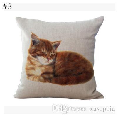 Impresión del gato de algodón de lino funda de almohada cubierta del coche Sofá Almohada Sham Sillón para sala de estar dormitorio Sala de Estudio Comedor Aparcamiento MYJ 027