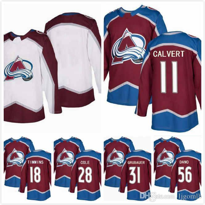 2019 Ian Cole Jersey 28 Matt Calvert 11 Marko Dano 56 Sheldon Dries 15  Philipp Grubauer 31 Conor Timmins 18 Avalanche Hockey Jerseys 2018AD S 3XL  From ... 992d83c9306