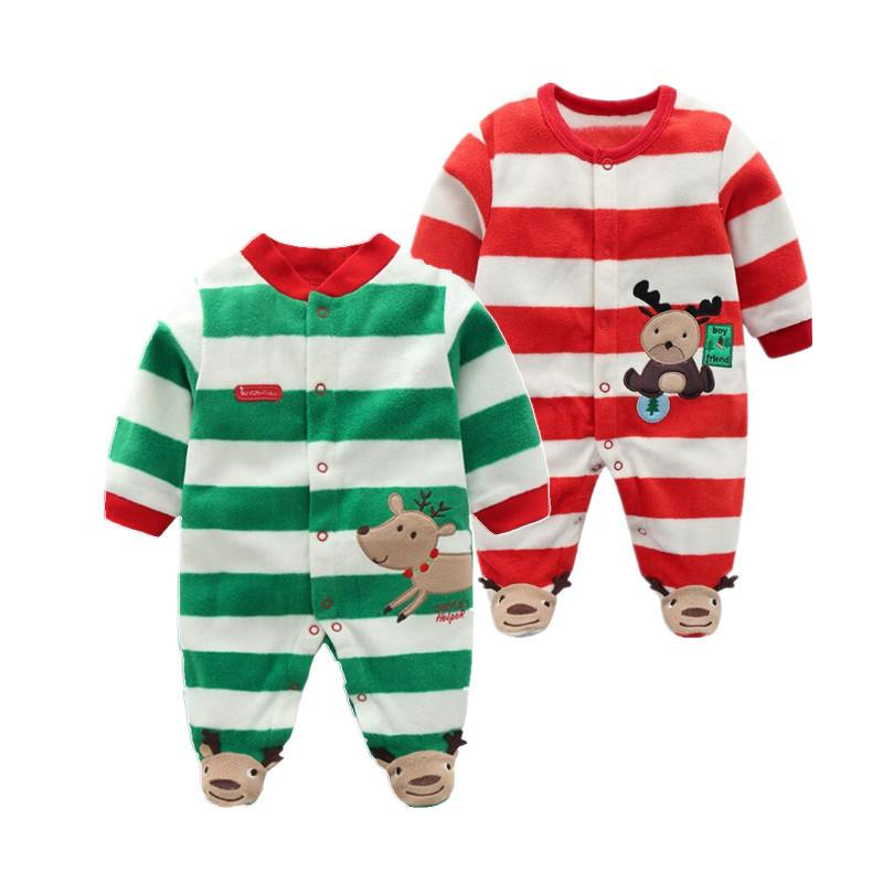 773ec8efd Christmas 2018 Newborn Baby Rompers Baby Boys Romper Warm Fleece ...