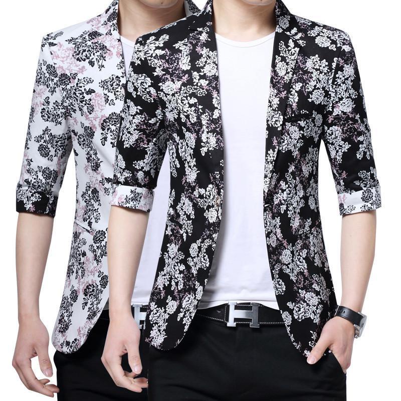 best loved b9076 d4cc9 Giacca sportiva da uomo elegante giacca blazer coreana da uomo per uomo con  stampa floreale top coat uomo manica lunga tre quarti nero bianco