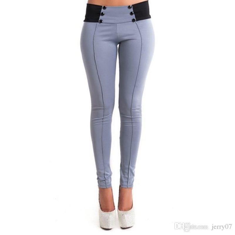 Compre Las Mujeres De La Manera Ocasionales Delgados Pantalones De Lápiz  Colores Del Caramelo Skinny Stretch Leggings Trousers A  8.03 Del Jerry07  c0e04b0d606