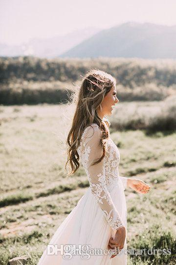 New Ivory Bohemian Country Wedding Dresses Charming Long Sleeve Lace Wedding Dresses Floor Length Chiffon Wedding Dresses Cheap Betra Gown