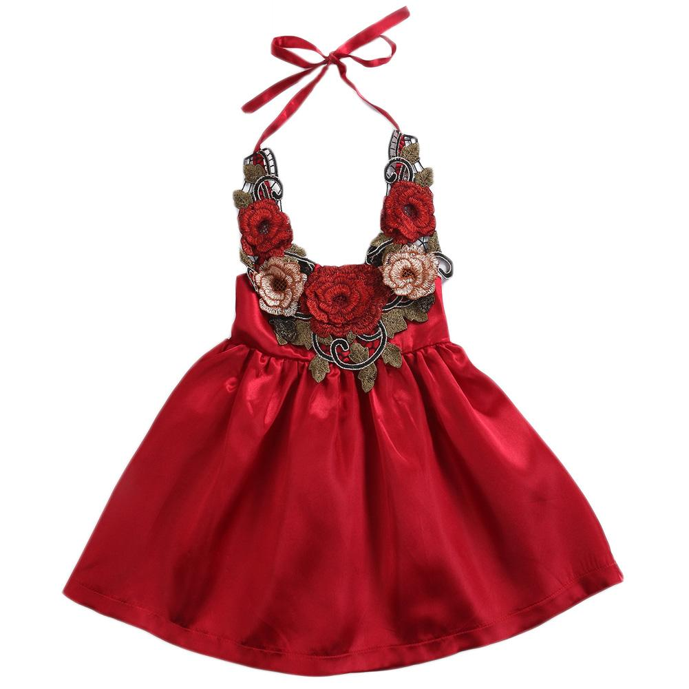 Cute Flowers Baby Girls Dress Party Lace Up Abiti estivi Vestiti Moda Abito fresco Principessa Abito da bambina