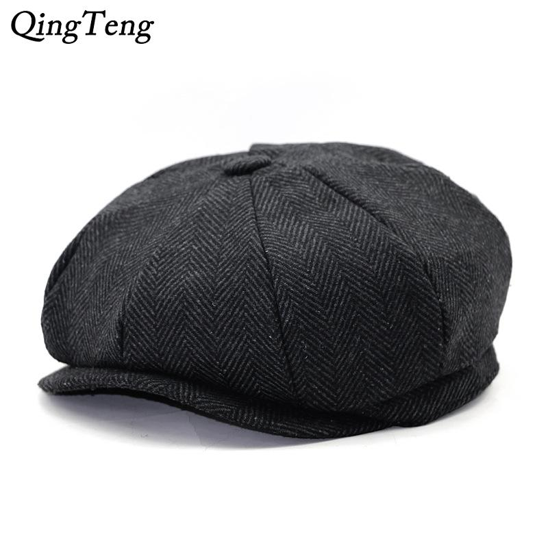 21ba9bb7569fc 2019 Octagon Herringbone Newsboy Cap Vintage Men Cotton Beret Casual ...