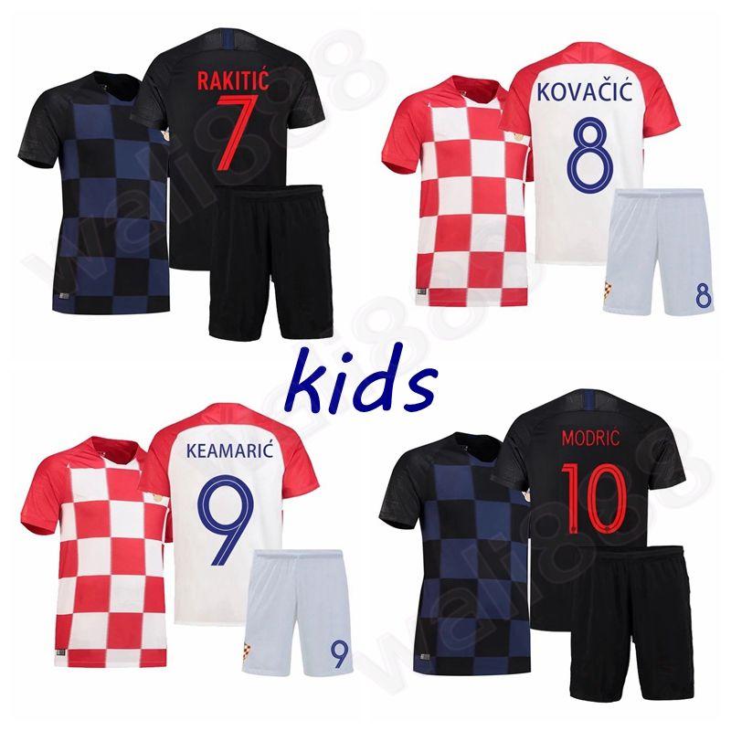 f62ea88b 2018 World Cup MODRIC MANDZUKIC RAKITIC Home Soccer Jerseys camisetas  PERISIC KALINIC KOVACIC Boys and girls Football Shirt set