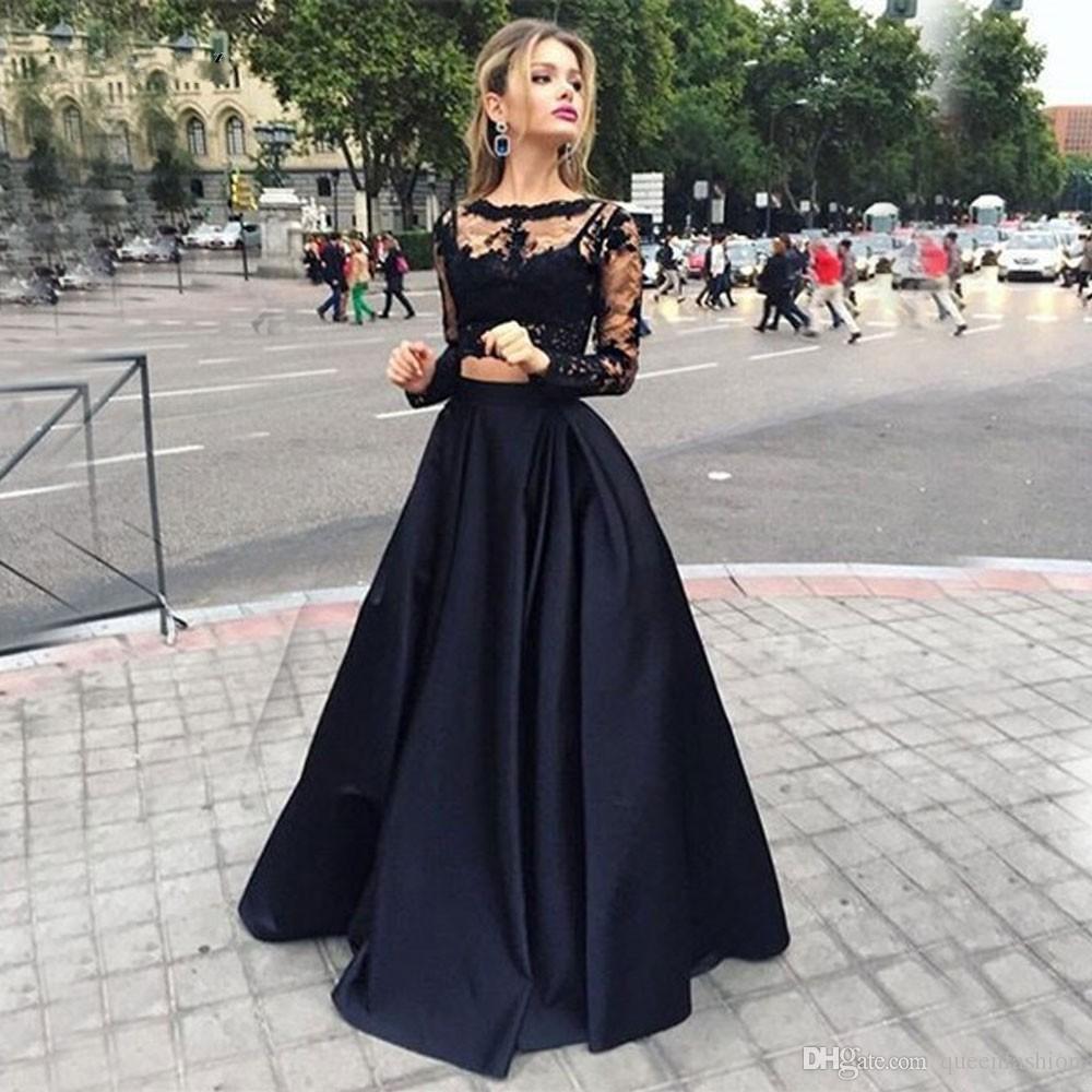 Black Two Pieces Prom Dresses Long Sleeve Lace Crop Top Evening Gowns Graduation Celebrity Dresses Long