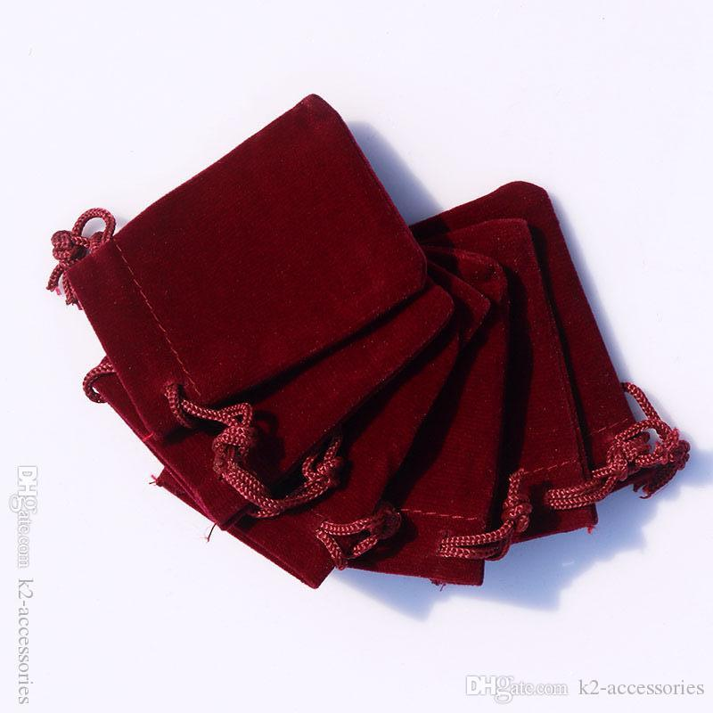Red Wine Velvet Dust Proof Bags with Drawstring Jewellery Cosmetic Craft Products Packing Pouches Retail Shop jewelry Gift Packaging Bag