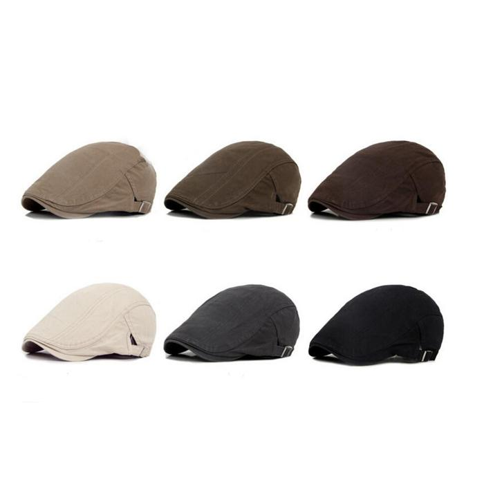 Cotton Flat Cap Men Spring Autumn Fall Winter Ivy Caps Male Elastic Back Beret Cabbie Driver Hat Boina