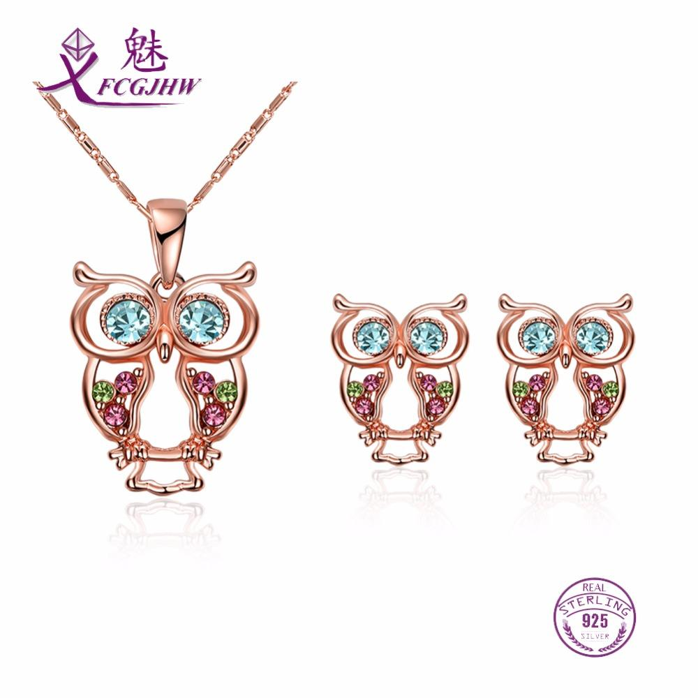 6c26fef797d5f 2019 Sterling Silver 925 Jewelry Sets For Women Fine Jewelry Animal Owl  Blue Zircon Rose Gold For Girls Party Valentines Day Gift From Luney, ...