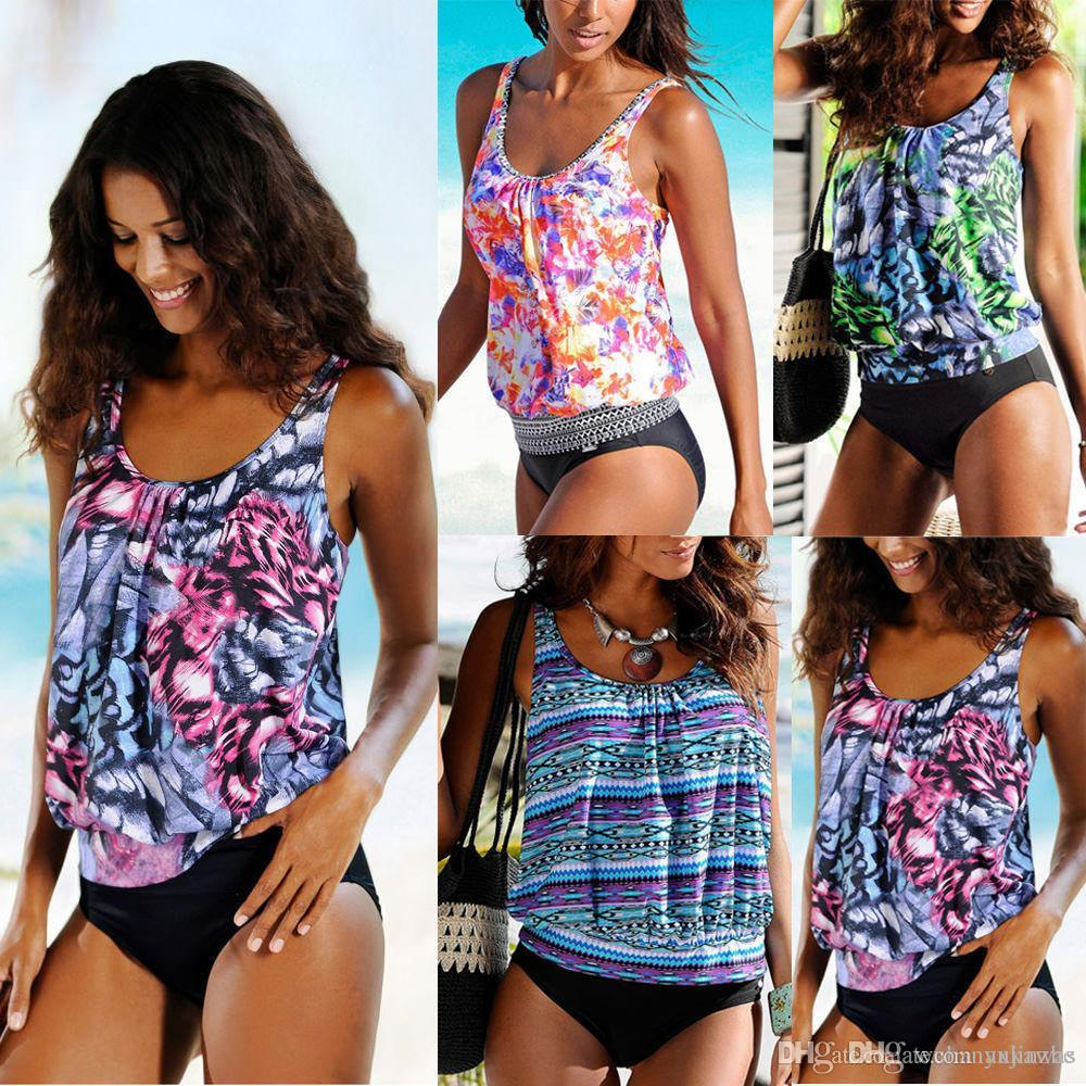 2a25933e5e 2019 2018 Sexy One Piece Swimsuit Women Swimwear Floral Printed Blouson  Tankini Set Summer Beach Bathing Suit CL192 From Axkawas, $26.52 |  DHgate.Com