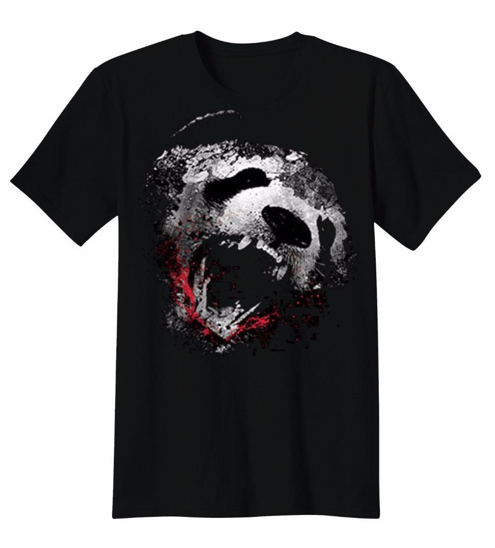 f6e3a39f9b Compre Los Mejores Diseños De La Camiseta De Manga Corta Verano Cuello  Redondo Panda Mordida Pintada Arte Goteo Amantes De Los Animales Camiseta  Para ...