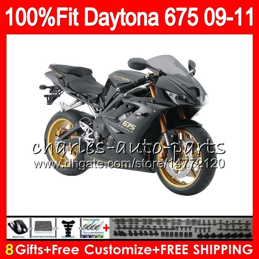 Flat black ! Injection For Triumph Bodywork Daytona 675 2009 2010 2011 2012 107HM.39 Daytona 675 09 10 11 12 Daytona-675 Daytona675 Fairing