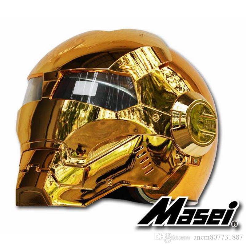 MASEI 610 galvanoplastia enchapado en oro oro cromo IRONMAN casco de hierro hombre casco de la motocicleta media cara abierta casco ABS motocross