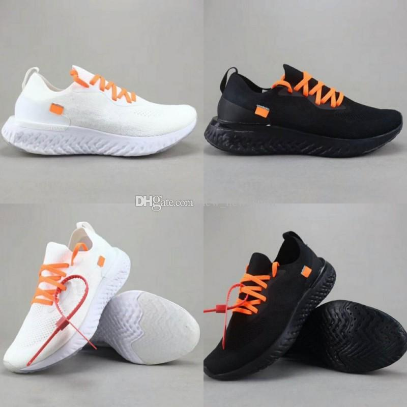 new style 0abbe 142c1 2018 Men Epic React Running Shoes Fiy Knit Off New Triple Black White Trainer  Sports Meure Chaussure Femme Balance Sports Shoes US5.5 13 Cheap Running  Shoes ...