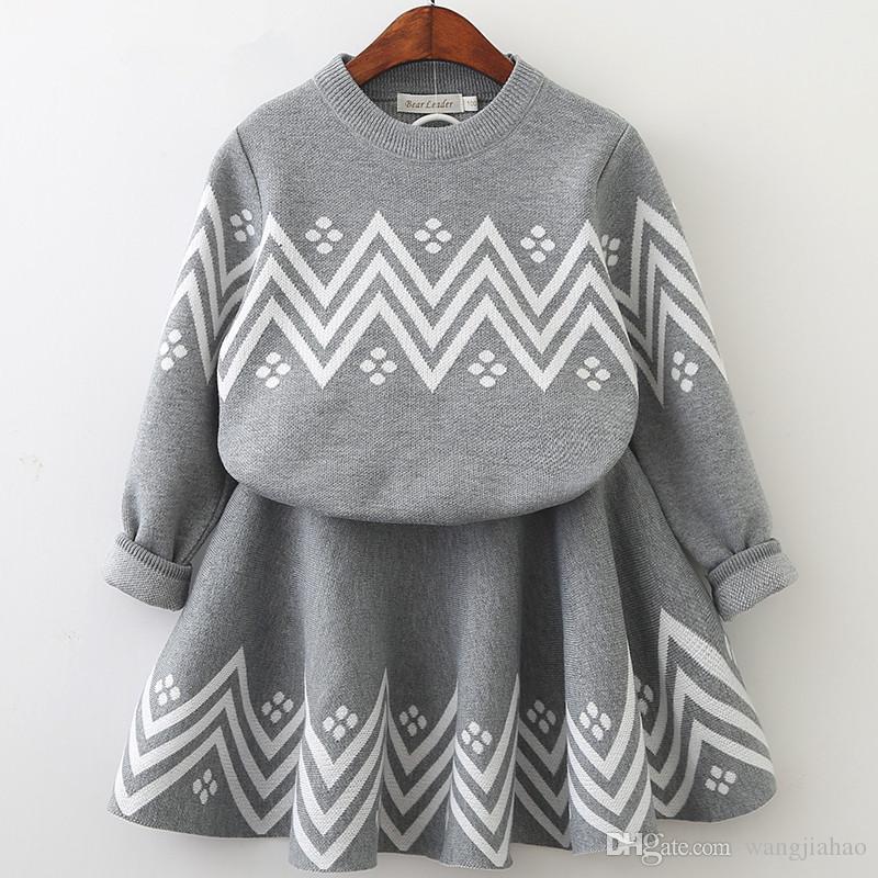 2be4acba8f Bear Leader Girls Dress 2018 Winter Geometric Pattern Dress Long Sleeve  Girls Clothes Top Coat+ Tutu Dress Sweater Knitwear Dresses Women s Clothes  Casual ...