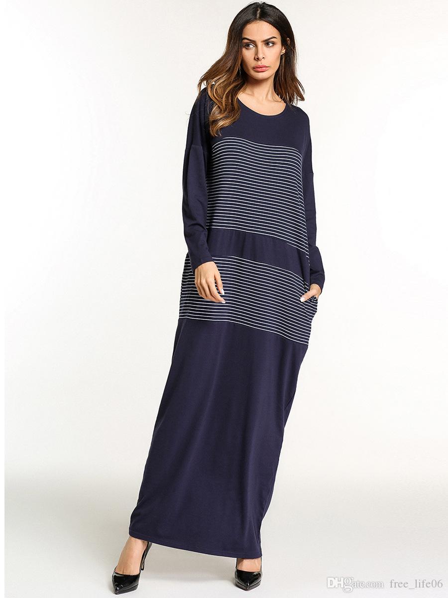 Vestido de retazos de rayas azul marino mujer Primavera Otoño 2018 cuello redondo manga larga vestido básico Mujer musulmana túnicas delgadas