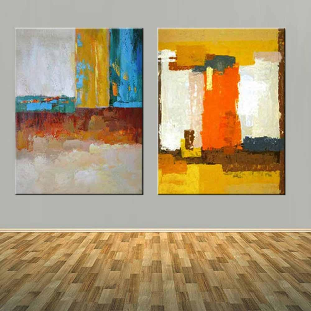 Superb Modern Abstract Art Handmade Double Panels Color Canvas Oil Painting Yellow Abstract Wall Picture Living Room Home Wall Decor Home Interior And Landscaping Staixmapetitesourisinfo