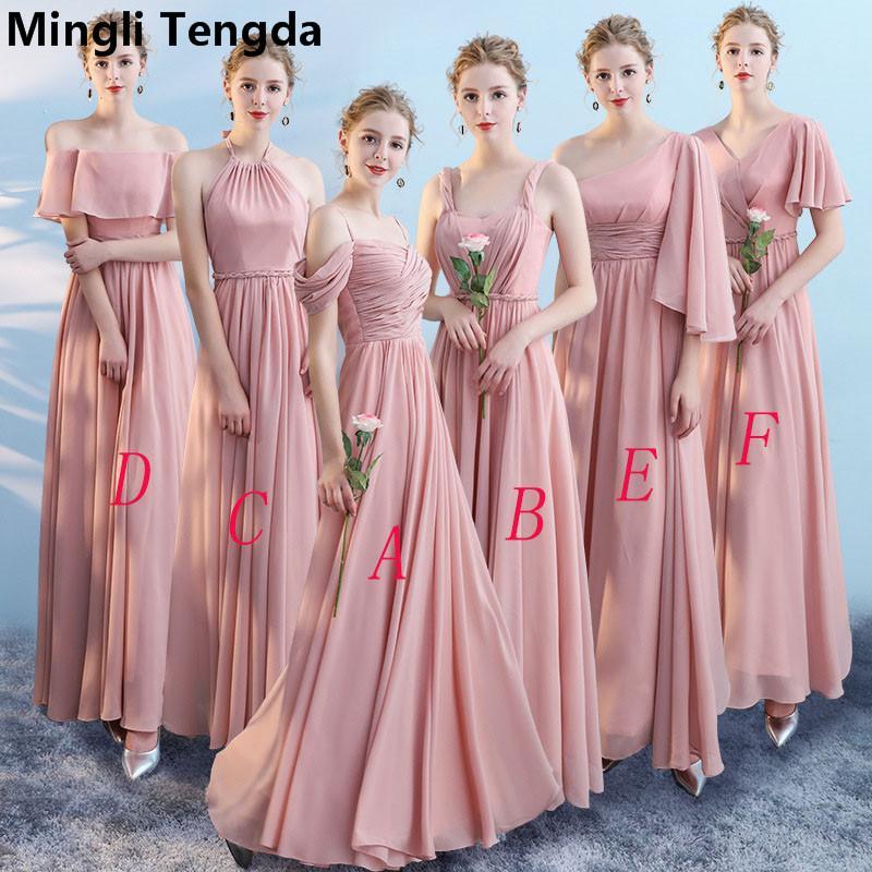 74cb89be2 Vestidos de dama de honor de cuello barco Chiffon 2018 Elegante vestido de  novia para vestido de novia de mujer Mingli Tengda