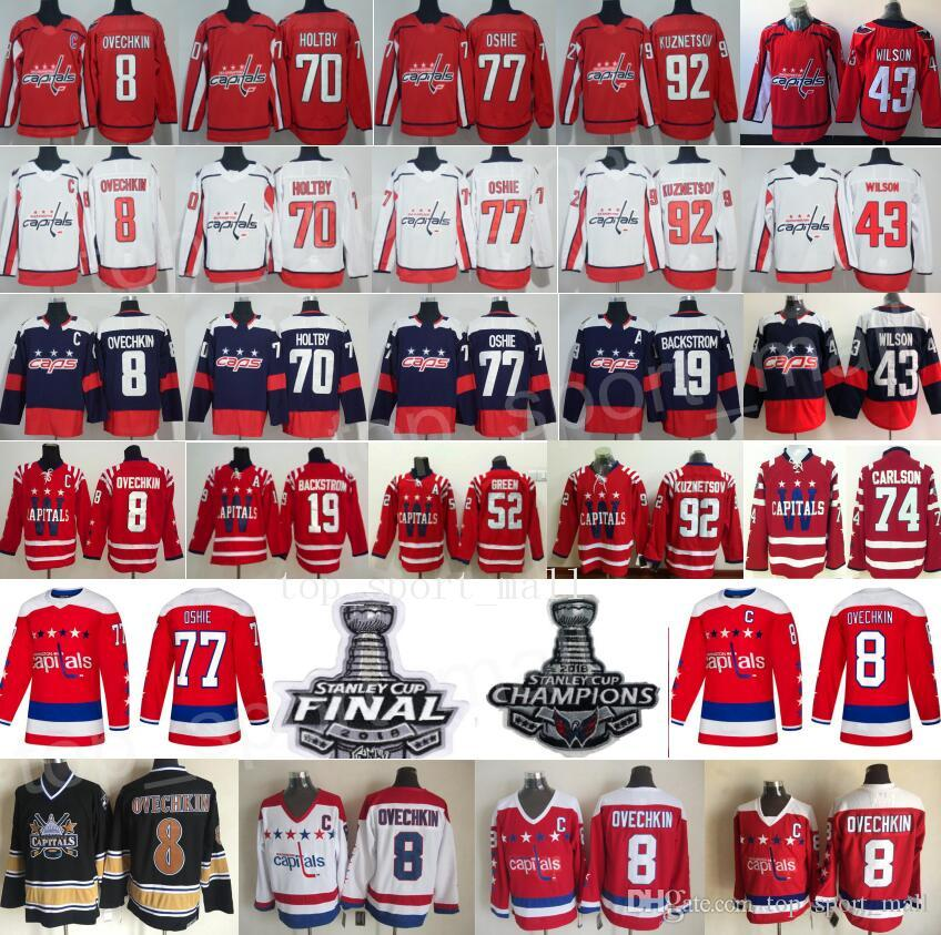 7ecf9da54 2019 2018 Stanley Cup Final Champion Hockey Washington Capitals Alexander  Alex Ovechkin Jersey Tom Wilson Braden Holtby TJ Oshie Evgeny Kuznetsov From  ...