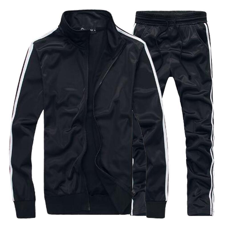 New Fashion Spring Autumn Men Sets Jacket Pant Thick Sweatsuit Set
