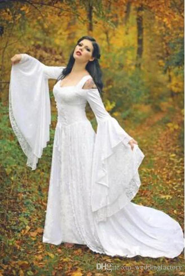Vintage Black Gothic Brautkleider A Line Mittelalterlich aus den Schultergurten mit langen Ärmeln Korsett Brautkleider mit Gericht Zug nach Maß
