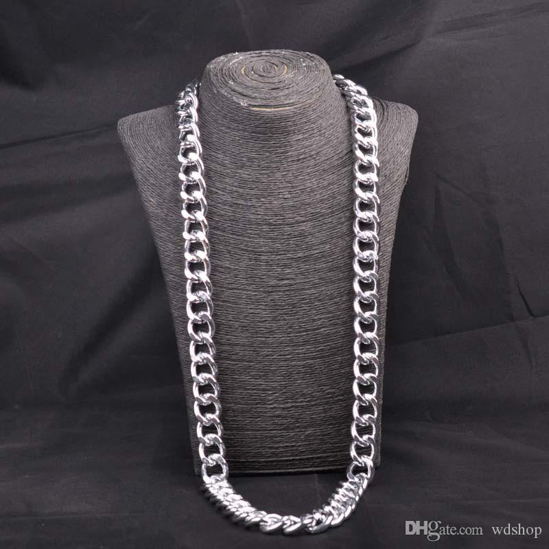 Miami Cuban Chains For Men Hip Hop Jewelry Wholesale Gold Color Thick Aluminum Chain Long Big Chunky Necklace Gift