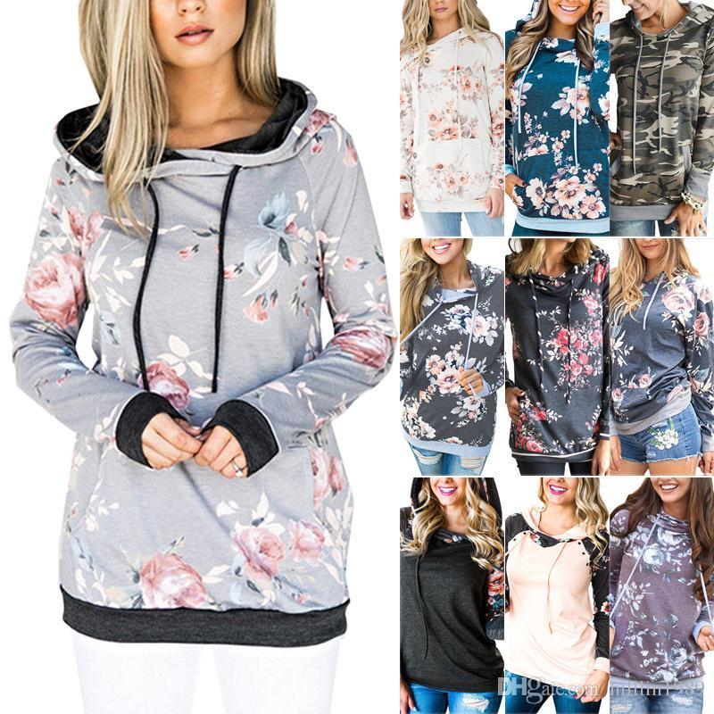 Großhandel 10 Farben Blumendruck Winter Hoodies Langarm Pullover ... 89785a911f