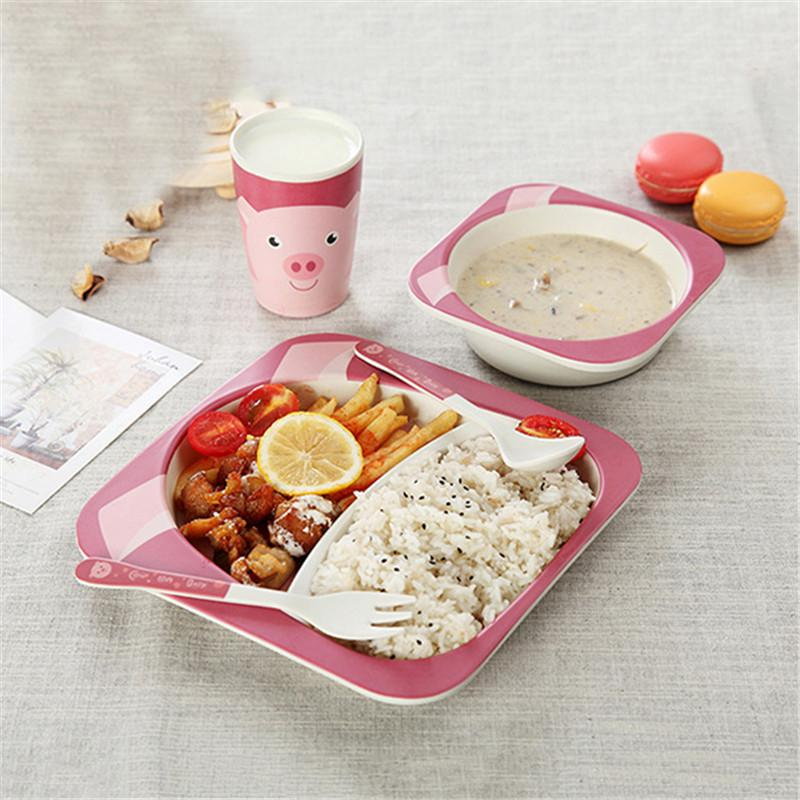 2018 Cartoon Animal Baby Dishes Set Children Bamboo Fiber Tableware Dining  Tools Kids Baby Feeding Bowl Fork Spoons Cup Plate From Vanilla14, ...