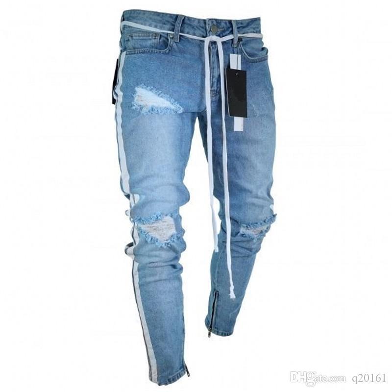 4c95fe7b99b 2019 Hot Sale New Mens Skinny Jeans Bike Ripped Slim Fit Stretch Denim  Distress Frayed Jeans Mens Zipper Pencil Trousers From Q20161
