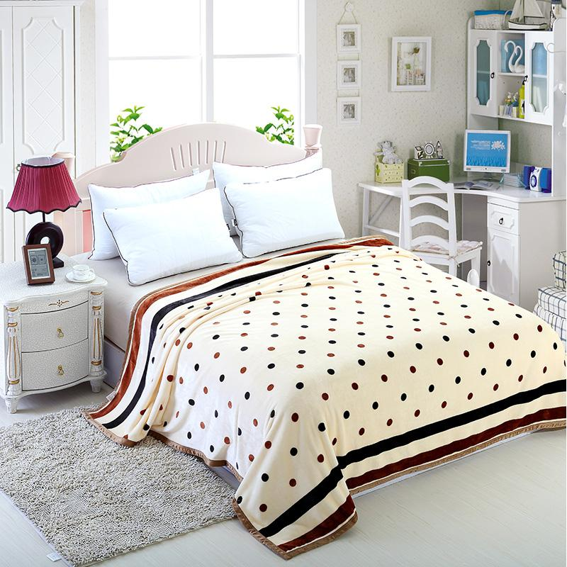 Winter Bed Sheets Coral Velvet Warm Blanket White Dots Single And Double Bed  Blankets Fleece/Sofa/Tv/Travel Blanket Linings #/ Down Throws Lambswool  Blanket ...