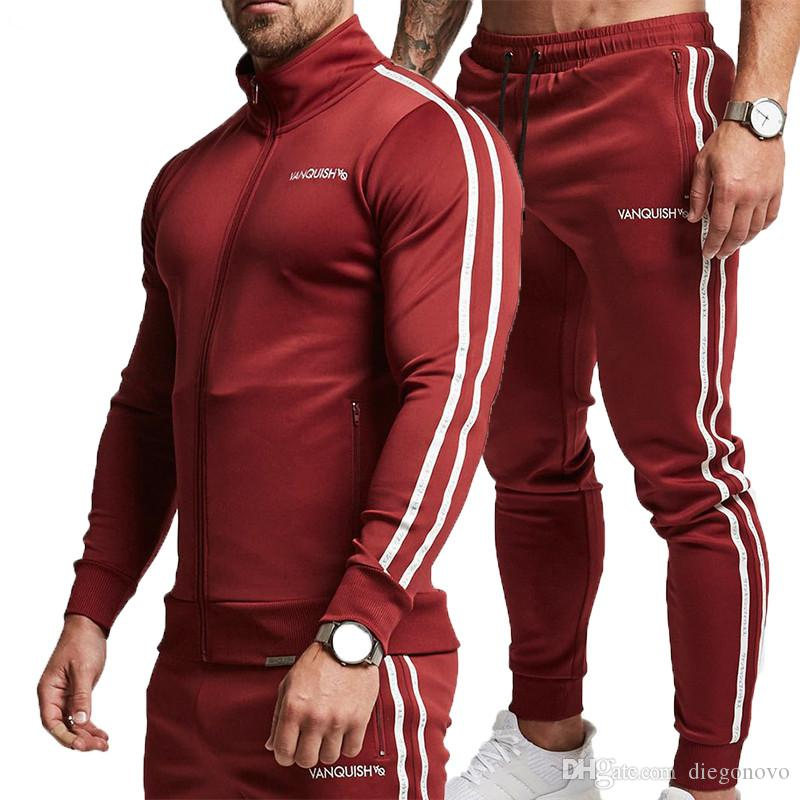 735b76b2d43a5 2019 2018 Winter Sports Suit Men Set Male Hoodies Sets Mens Gyms Sportswear  Jogger Suit Male Tracksuit Cardigan Sets Red Black From Diegonovo