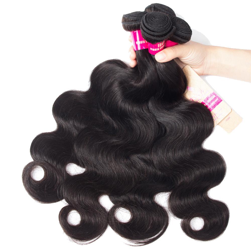8A MICK Бразильская волна тела прямая свободная волна kinky вьющиеся глубокие волны волосы с кружевной замыканием Малайзийские перуанские бразильские волосы плетеные пучки