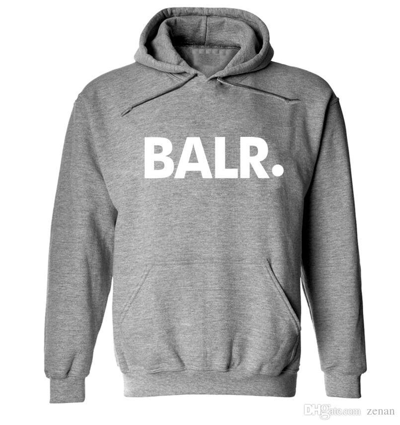 BALR письма печатных толстовки Мужские весна осень флис пуловеры с капюшоном толстовки спортивные спортивные костюмы топы с длинными рукавами