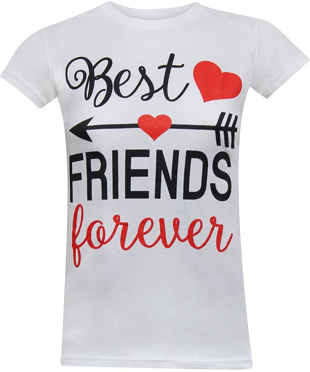 aadf48778c Funny Shirts Crew Neck Short - Sleeve Best Friends Forever Women's Fitted T Shirt  Funny Cotton Short Sleeve Shirts For Men