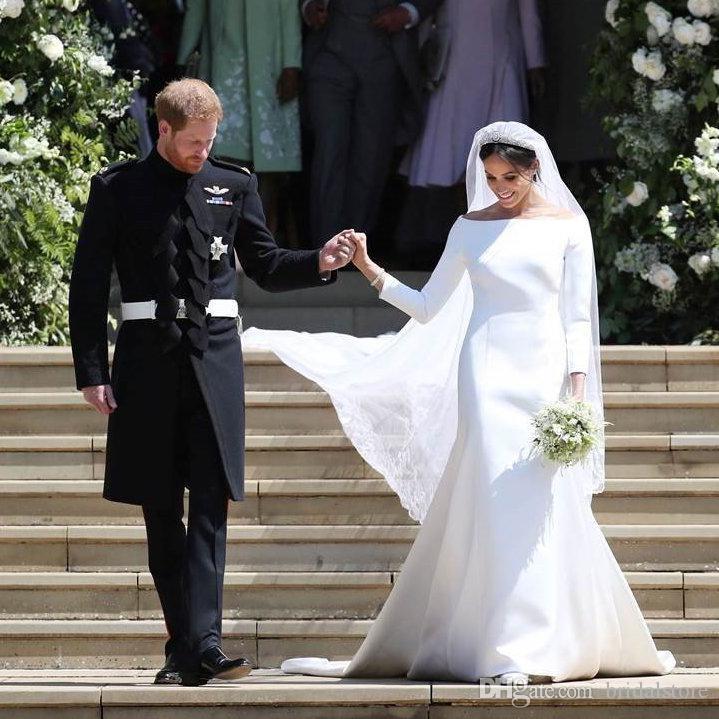 Simple Meghan Markle Wedding Dress With Sleeves Royal