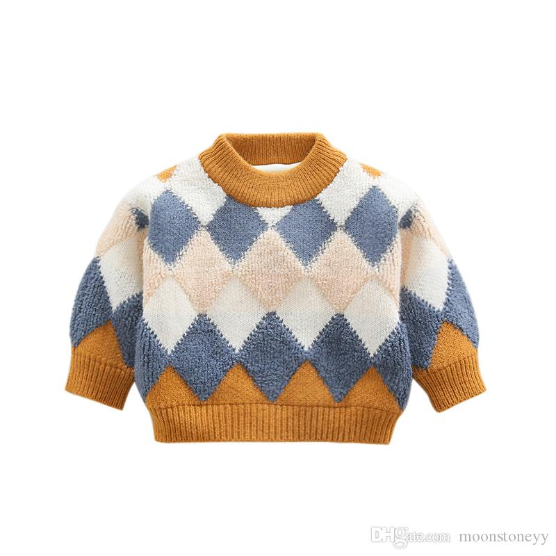 e48d472e3 New Winter Baby Sweater Boy Diamond Color Matching Sweater Baby Baby ...