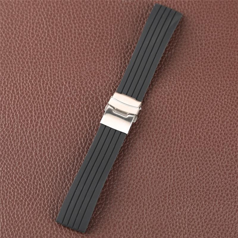 18/20/22/24mm Black Silicone Watch Band Fold Over Clasp with Safety and Push Button Strap Men Women Watches Replace Bracelet
