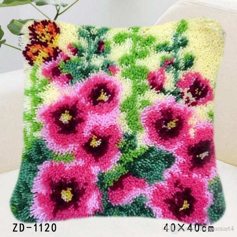 Flowers And Plants Patterns Pillowcase Printed Cushion Cover Latch Hook Rug Kits Needlework Home Sofa Chair Decoration Festival Gifts