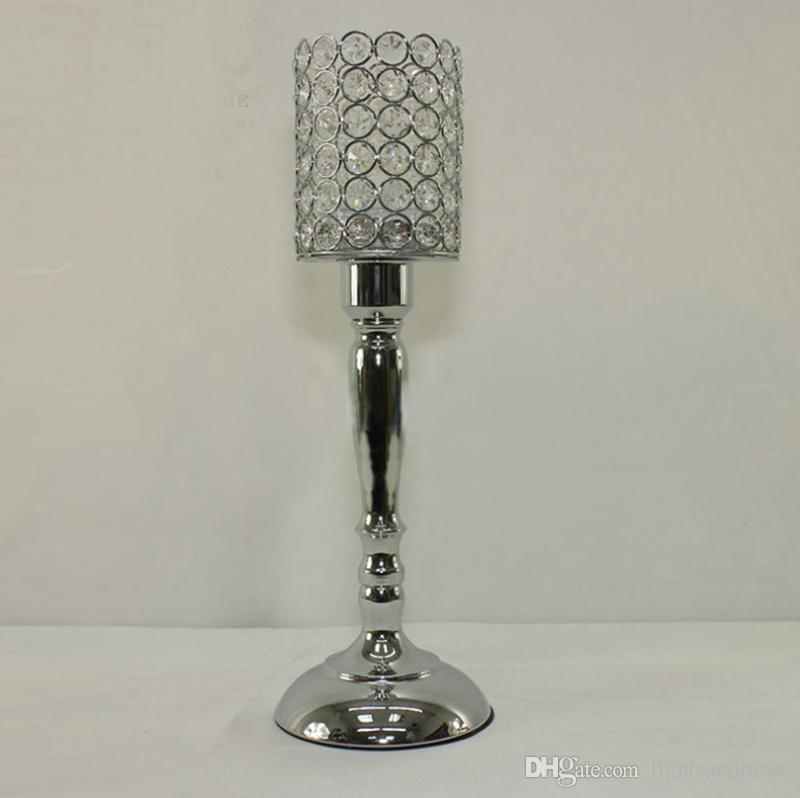 45cm 40cm tall silver color crystal beaded candle holder candlestick candelabra table centerpieces wedding party decoration