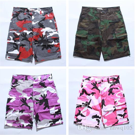 54d7abf959 Men's Camouflage Shorts Hip Hop Short Cargo Pants 100% Cotton Fashion  Summer Shorts Camo Skate Shorts Casual Pants BFSG1203